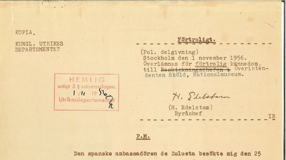 A classiafied memo issued 1956 by the political section at the Swedish foreign ministry concerning Pablo Picasso's painting Guernica.