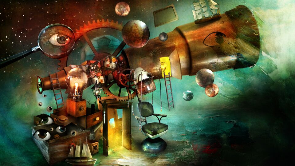 Wondrous things in Villa Curiosa, illustration by Alexander Jansson.