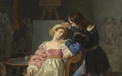 Marie-Philippe Coupin de la Couperie, Raphael Adjusts Fornarina's Hair Before Painting her Portrait. Painted in 1824, oil on canvas. Nationalmuseum.