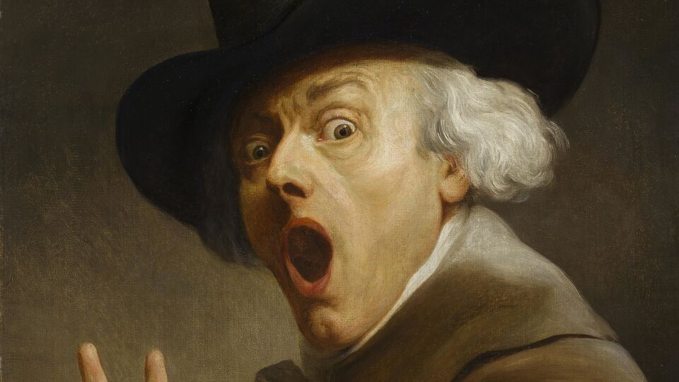 Joseph Ducreux, Self-portrait, entitled La Surprise en terreur, 1790's, oil on canvas