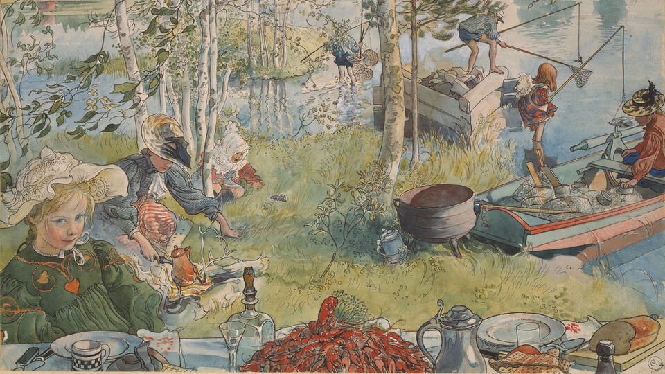 Carl Larsson, Crayfishing  (from A Home, 26 Water-Colours)